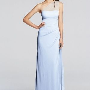 David's Bridal Long One Shoulder Bridesmaid Dress